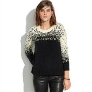 Madewell Navy Drift Stitch Chunky Knit Sweater